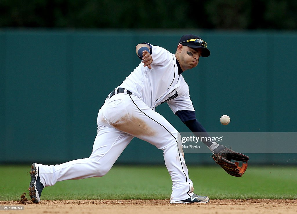 Detroit Tigers shortstop Jose Iglesias could not catch a ground ball hit by Los Angeles Angels center fielder Mike Trout during the sixth inning of a...