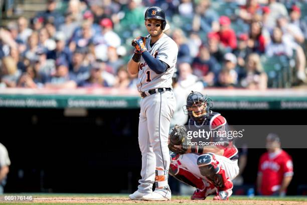 Detroit Tigers Shortstop Jose Iglesias looks for a sign during the seventh inning of the Major League Baseball game between the Detroit Tigers and...