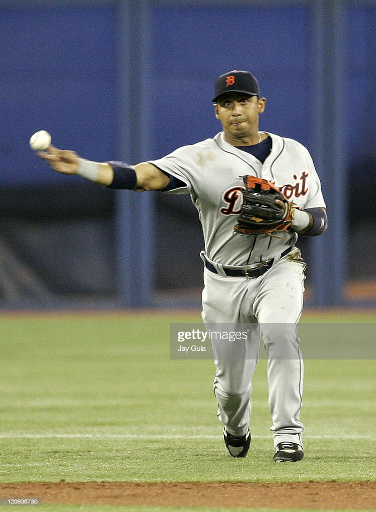Detroit Tigers SS Carlos Guillen throws to 1st base for an out in MLB action vs the Toronto Blue Jays at Rogers Centre in Toronto, Canada on April 12, 2007.
