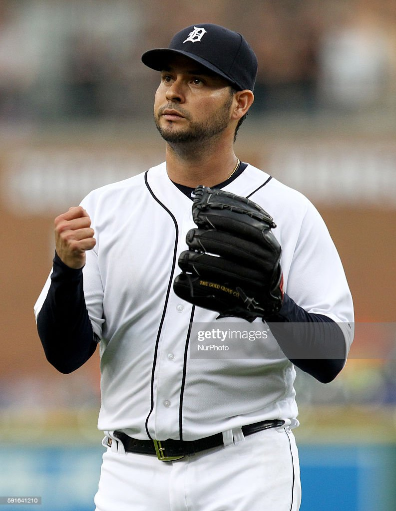 Detroit Tigers starting pitcher Anibal Sanchez reacts after pitching the fourth inning of a baseball game against the Kansas City Royals in Detroit...