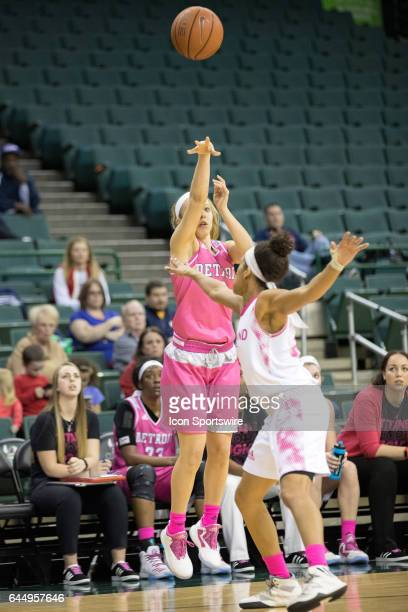 Detroit Titans G Lola Ristovski shoots as Cleveland State Vikings G Chrishna Butler defends during the third quarter of the women's college...