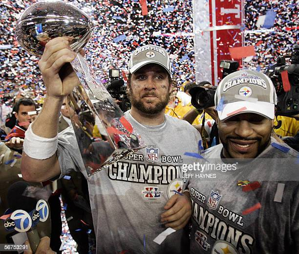 Pittsburgh Steelers quarterback Ben Roethlisberger holds the Vince Lombardi trophy with teammate Jerome Bettis after his team won Super Bowl XL 2110...