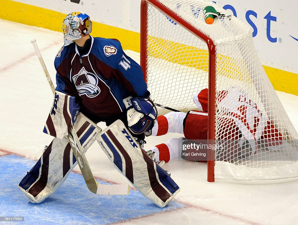 Detroit winger Dan Cleary lost his balance and knocked the net off the pipes in the first period as Avs goalie Craig Anderson watched The Colorado...
