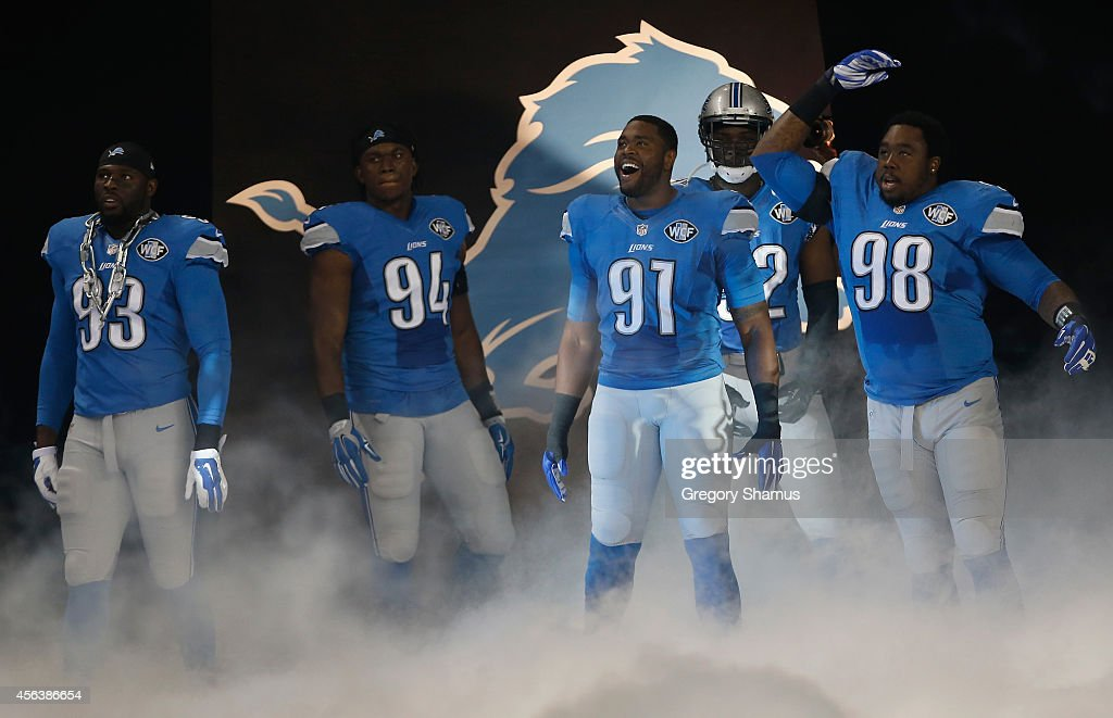 Detroit's defensive line George Johnson Ezekiel Ansah Jason Jones Devin Taylor Nick Fairley get ready to take the field during player introductions...