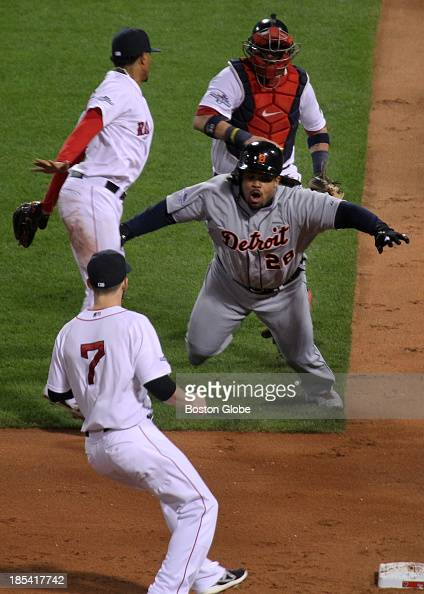 Detroit's Prince Fielder caught in a rundown in the sixth inning of Game Six of the American League Champion Series between the Detroit Tigers and...