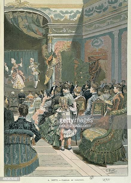 A Detti Comedie de paravent 1885 Illustration Paris Bibliothèque Des Arts Decoratifs