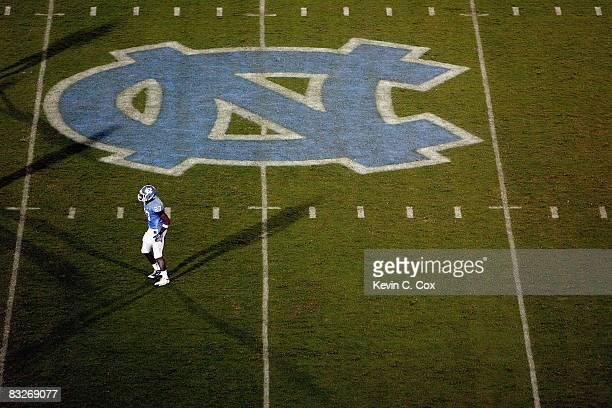 Deunta Williams of the North Carolina Tar Heels stands on the field as the midfield logo is shown during the game against the Connecticut Huskies at...