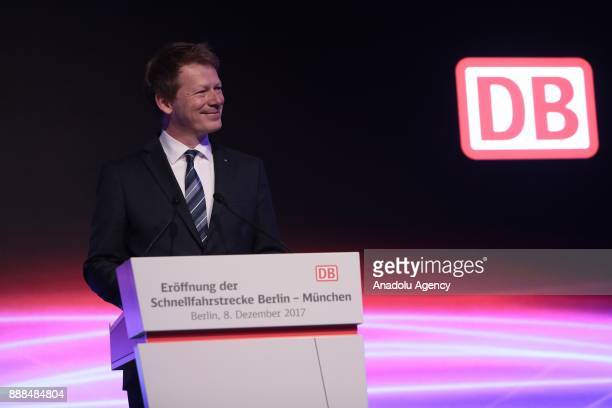 Deutsche Bahn CEO Richard Lutz speaks at the Berlin central train station or Hauptbahnhof during the first journey of the high speed track that...