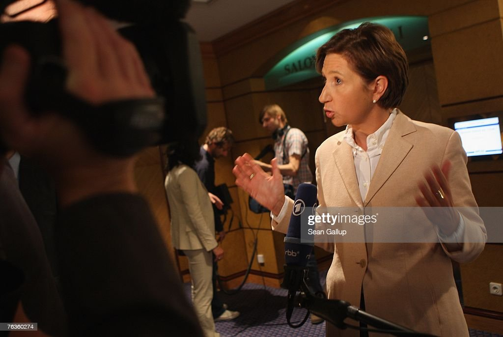 Deutsche Bahn Human Resources head Margret Suckale gives an interview after a press conference with representatives of the German union of locomotive drivers, the GDL, at the Park Inn hotel August 28, 2007 in Berlin, Germany. The two sides announced they had found enough common ground to reach an agreement in their current labour dispute, which is centered on wages.
