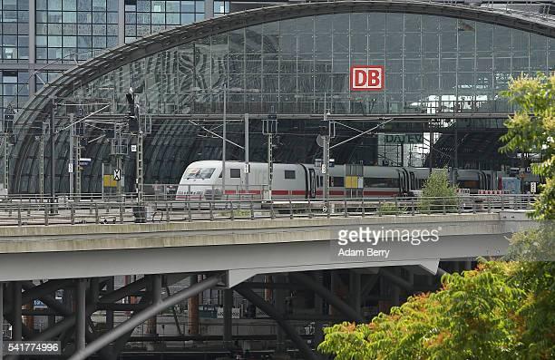 Deutsche Bahn ICE train is seen at the main train station or Hauptbahnhof on June 20 2016 in Berlin Germany Ruediger Grube the head of Deutsche Bahn...