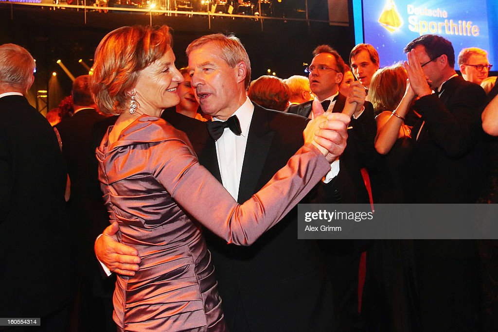 Deutsche Bank CEO <a gi-track='captionPersonalityLinkClicked' href=/galleries/search?phrase=Juergen+Fitschen&family=editorial&specificpeople=3093173 ng-click='$event.stopPropagation()'>Juergen Fitschen</a> dances with Friederike Lohse during the 'Ball des Sports 2013' at Rhein-Main-Hallen on February 2, 2013 in Wiesbaden, Germany.