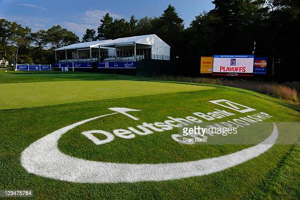 Deutsche Bank Championship logo is on display on the 16th hole during the second round of the Deutsche Bank Championship at TPC Boston on September 3...