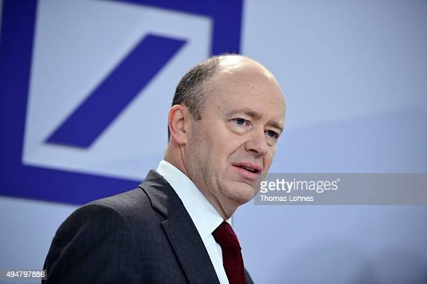 Deutsche Bank coChairman John Cryan arrives to speak to the media at Deutsche Bank headquarters on October 29 2015 in Frankfurt Germany This is...