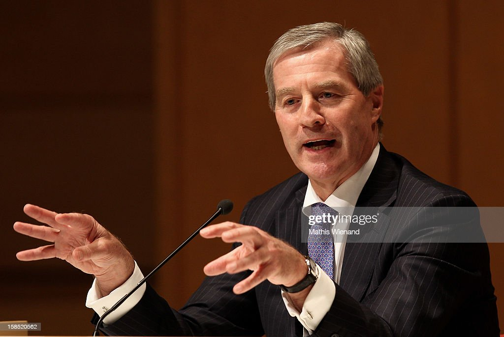 Deutsche Bank co-Chairman <a gi-track='captionPersonalityLinkClicked' href=/galleries/search?phrase=Juergen+Fitschen&family=editorial&specificpeople=3093173 ng-click='$event.stopPropagation()'>Juergen Fitschen</a> attends a podium discussion at the Ruhr Initiative Circle (Initiativkreis Ruhr) congress on December 17, 2012 in Essen, Germany. German police recently raided the headquarters of Deutsche Bank and are investigating Fitschen and 24 other Deutsche Bank employees on suspicion of money laundering and tax evasion related to the trading of carbon emissions certificates.