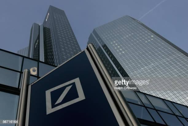 Deutsche Bank logo is pictured in front of their headquarters on February 2 2006 in Frankfurt Germany The bank is set to announce its annual results...
