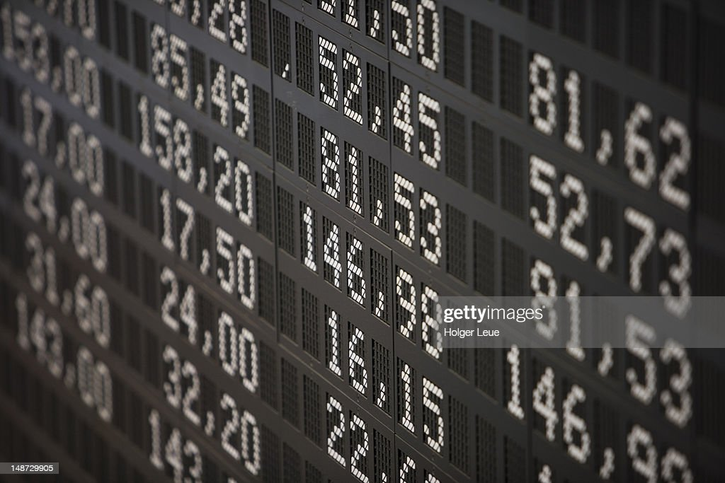 Deutsche Borse Stock Exchange trading floor display.