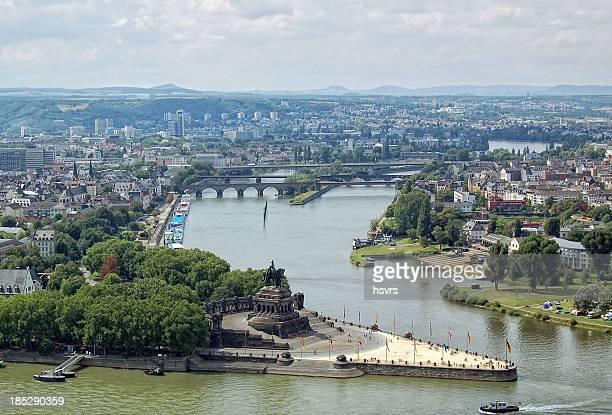 Deutsches Eck und Stadtlandschaft im Coblenz (Deutschland) – Koblenz