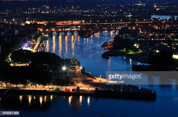 Deutsches Eck Moselle mouth into the Rhine and panoramic view of Koblenz