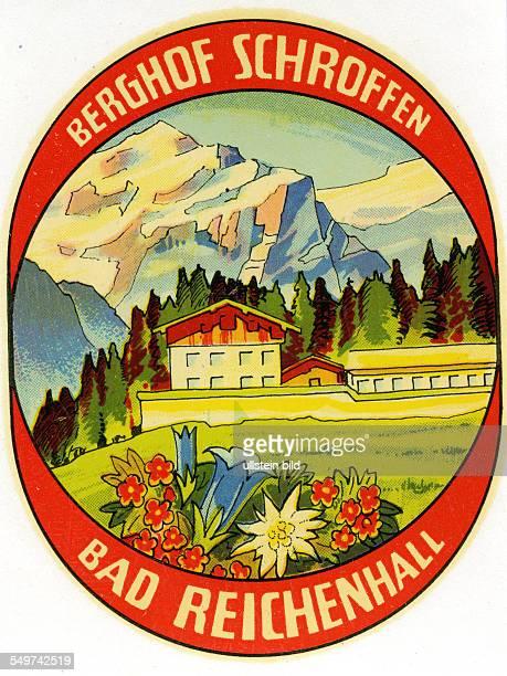 GER Deutschland Bad ReichenhallBerghof SchroffenAlter historischer Kofferaufkleber aus den fuenfziger Jahren