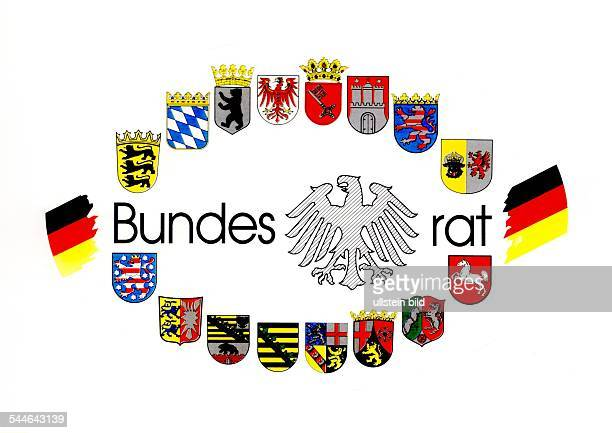 logo of the 'Bundesrat' with the coats of arms of the 16 German Federal States