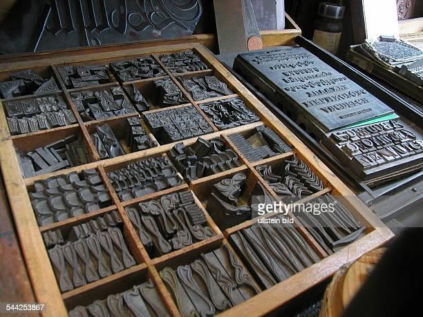 Deutschland RheinlandPfalz Mainz Setzkasten in der Druckerstube im Gutenbergmuseum 2004