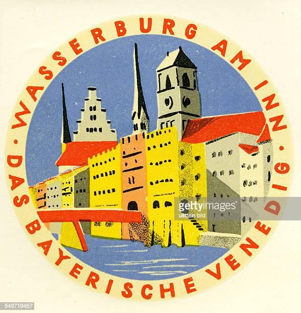 GER Deutschland Wasserburg am InnAlter historischer Kofferaufkleber aus den fuenfziger Jahren