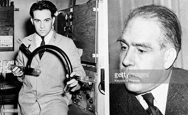 Deux des savants qui ont travaillé à l'étude de la bombe atomique à gauche le professeur Alfred O Nier et à droite le professeur Niels Bohr