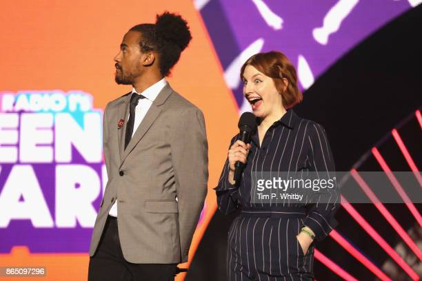 Dev Griffin and Alice Levine speak on stage during the BBC Radio 1 Teen Awards 2017 at Wembley Arena on October 22 2017 in London England