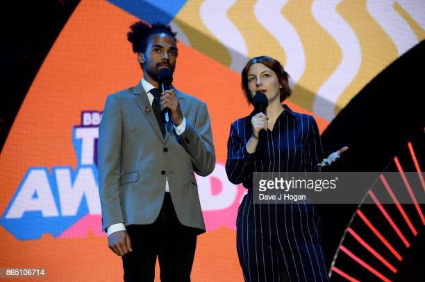 Dev Griffin and Alice Levine speak onstage at the BBC Radio 1 Teen Awards 2017 at Wembley Arena on October 22 2017 in London England