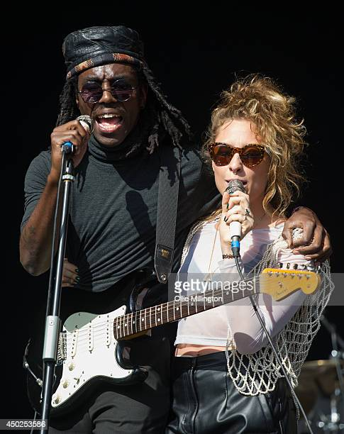 Dev Hynes and Samantha Urbani of Blood Orange and Friends perform on stage at Field Day Festival at Victoria Park on June 7 2014 in London United...