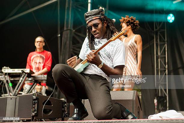 Dev Hynes of Blood Orange performs during the 2014 Lollapalooza Music Festival at Grant Park on August 1 2014 in Chicago Illinois