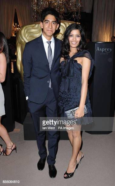 Dev Patel and Freida Pinto arrive at The Orange British Academy Film Awards nominees party at Asprey in Bond Street central London