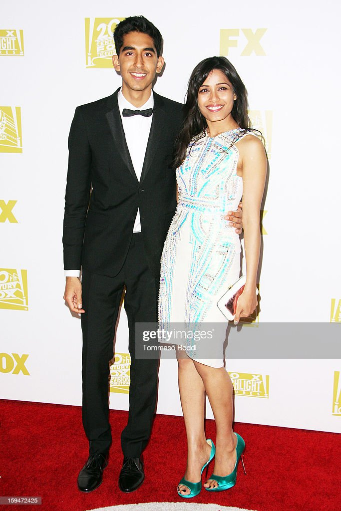 Dev Patel (L) and Freida Pinto attend the FOX Golden Globe after party held at the FOX Pavilion at the Golden Globes on January 13, 2013 in Beverly Hills, California.