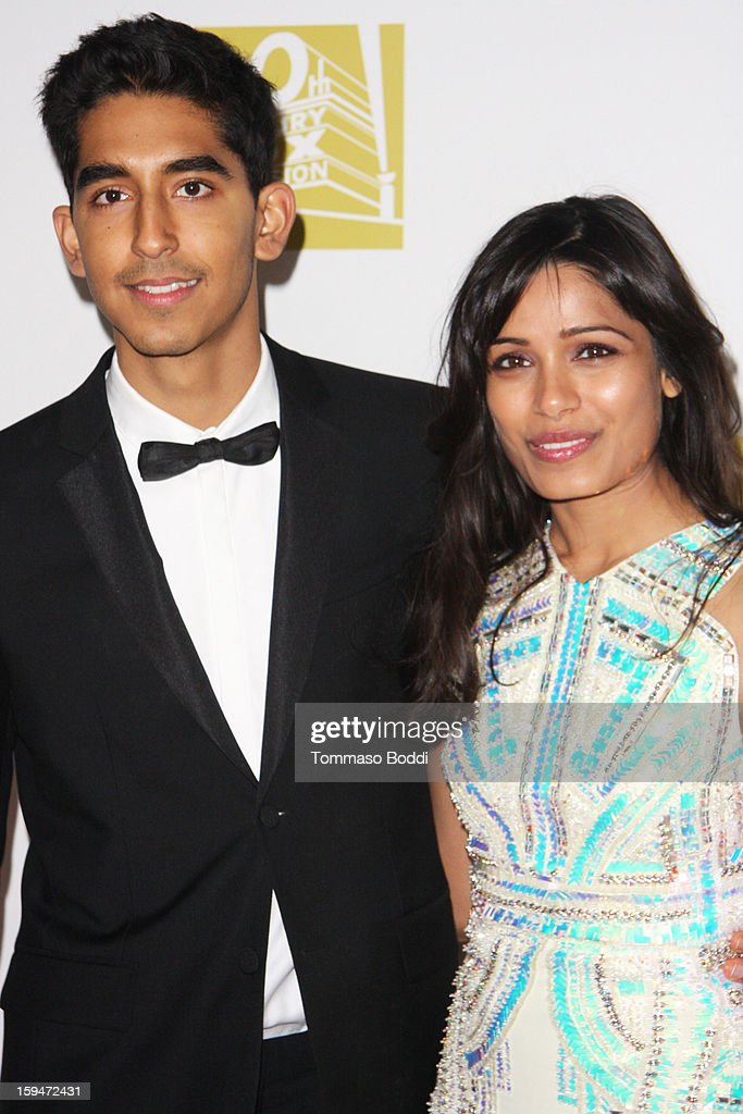 <a gi-track='captionPersonalityLinkClicked' href=/galleries/search?phrase=Dev+Patel&family=editorial&specificpeople=5123545 ng-click='$event.stopPropagation()'>Dev Patel</a> (L) and <a gi-track='captionPersonalityLinkClicked' href=/galleries/search?phrase=Freida+Pinto&family=editorial&specificpeople=5518973 ng-click='$event.stopPropagation()'>Freida Pinto</a> attend the FOX Golden Globe after party held at the FOX Pavilion at the Golden Globes on January 13, 2013 in Beverly Hills, California.