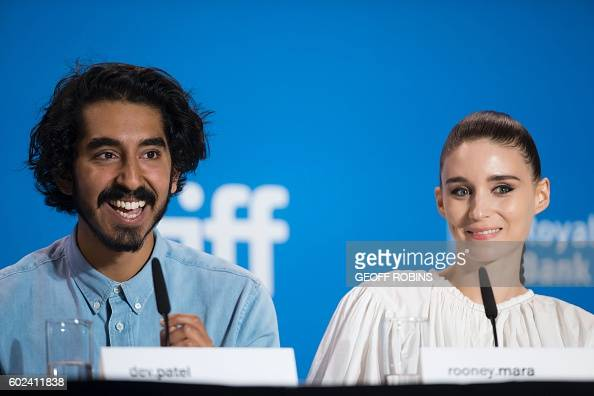 Dev Patel and Rooney Mara react to a question during the press conference for their film 'Lion' at the Toronto International Film Festival in Toronto...