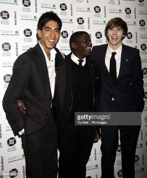 Dev Patel Daniel Kaluuya and Nicholas Holt from Skins arriving for The London Critics' Circle Film Awards at Grosvenor House Hotel in central London