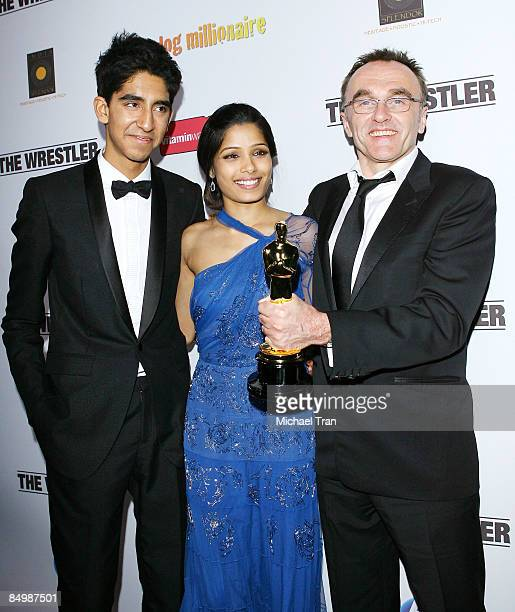 Dev Patel Freida Pinto and Danny Boyle arrive at the official 'Slumdog Millionaire' and 'The Wrestler' post Oscar party at ONE Sunset on February 22...