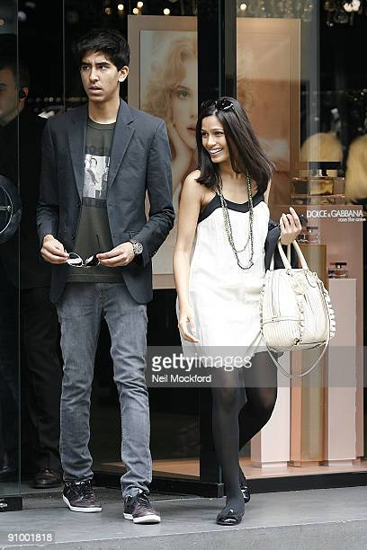 Dev Patel Freida Pinto go Shopping at Dolce Gabbana on September 21 2009 in London England
