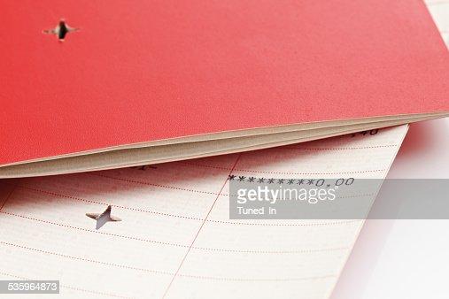 Devalidated bank books on white background : Stock Photo