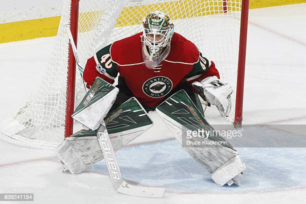 Devan Dubnyk of the Minnesota Wild defends his goal against the New Jersey Devils during the game on January 17 2017 at the Xcel Energy Center in St...