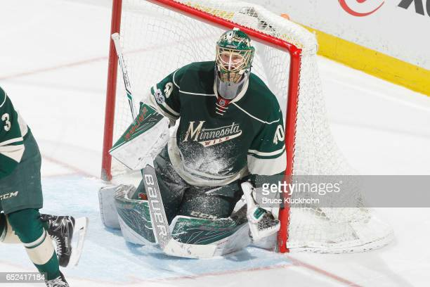 Devan Dubnyk of the Minnesota Wild defends his goal against the San Jose Sharks during the game on March 5 2017 at the Xcel Energy Center in St Paul...