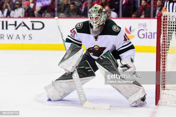Devan Dubnyk of the Minnesota Wild follows the puck in the first period during an NHL game against the Washington Capitals at Verizon Center on March...