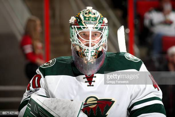 Devan Dubnyk of the Minnesota Wild is photographed during a timeout of an NHL game against the Carolina Hurricanes on March 16 2017 at PNC Arena in...
