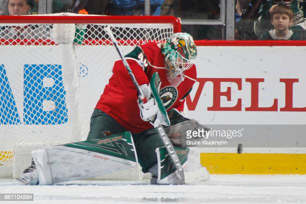 Devan Dubnyk of the Minnesota Wild makes a save against the Philadelphia Flyers during the game on March 23 2017 at the Xcel Energy Center in St Paul...