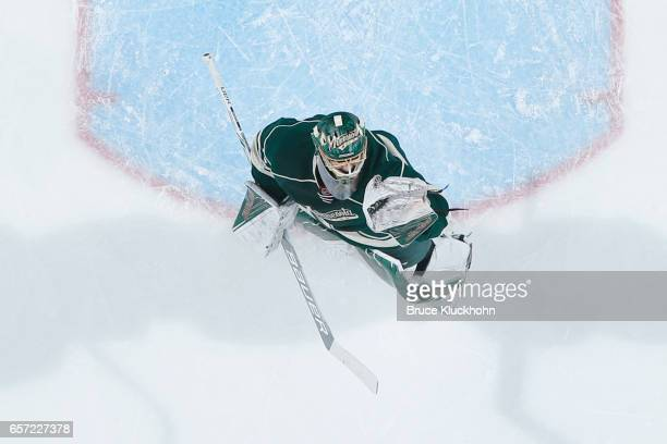 Devan Dubnyk of the Minnesota Wild makes a save against the New York Rangers during the game on March 18 2017 at the Xcel Energy Center in St Paul...