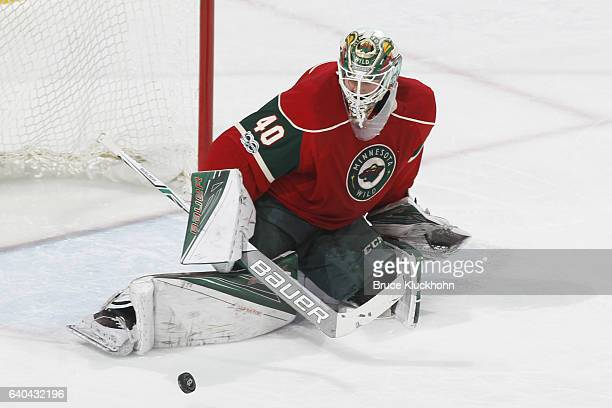 Devan Dubnyk of the Minnesota Wild makes a save against the St Louis Blues during the game on January 26 2017 at the Xcel Energy Center in St Paul...
