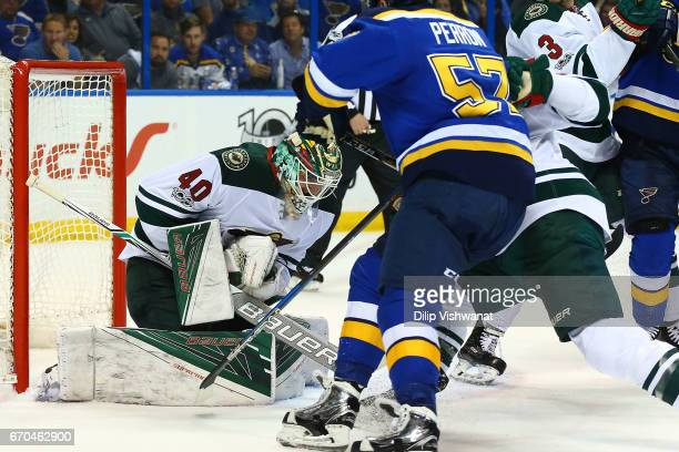 Devan Dubnyk of the Minnesota Wild makes a save against the St Louis Blues in Game Four of the Western Conference First Round during the 2017 NHL...