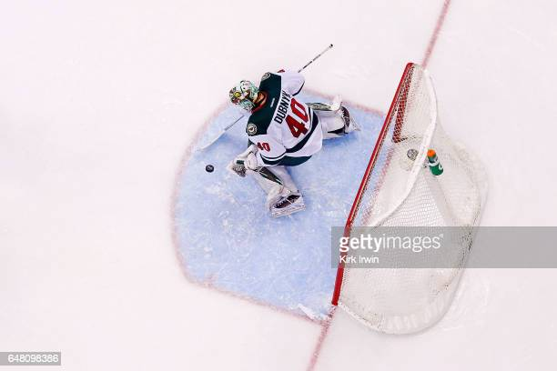 Devan Dubnyk of the Minnesota Wild makes a save during the game against the Columbus Blue Jackets on March 2 2017 at Nationwide Arena in Columbus Ohio