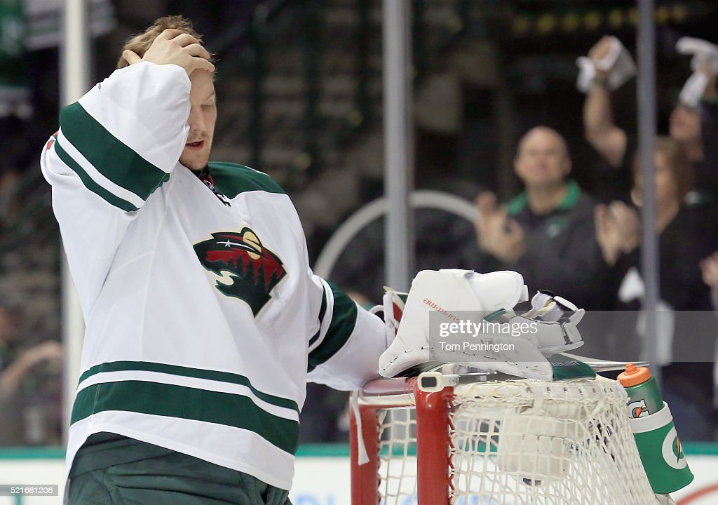 Devan Dubnyk of the Minnesota Wild prepares to take on the Dallas Stars in the first period in Game Two of the Western Conference Quarterfinals...