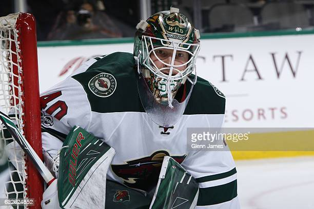 Devan Dubnyk of the Minnesota Wild tends goal against the Dallas Stars at the American Airlines Center on January 24 2017 in Dallas Texas